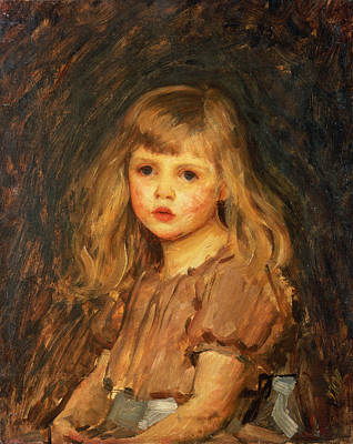 Little Girl Painting - Portrait Of A Girl by John William Waterhouse