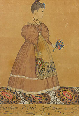 Drawing - Portrait Of A Girl On A Patterned Carpet Holding Flowers by Joseph H Davis