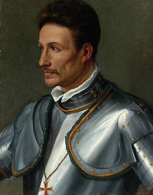 Alessandro Allori Painting - Portrait Of A Knight Wearing The Cross Of The Order Of Saint Stephen by Circle of Alessandro Allori