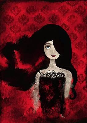 Ipad Design Digital Art - Portrait Of A Lady Amidst A Red Damask Background by Yazmin Basa