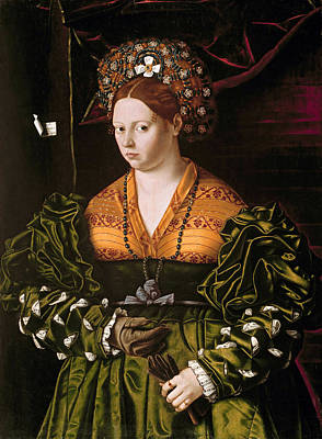 Bartolomeo Veneto Painting - Portrait Of A Lady by Bartolomeo Veneto