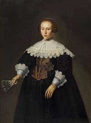 Dirck Van Santvoort Painting - Portrait Of A Lady by Dirck Dircksz van Santvoort