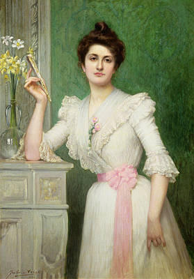 Daffodils Photograph - Portrait Of A Lady Holding A Fan by Jules-Charles Aviat