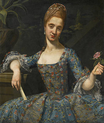 Painting - Portrait Of A Lady In An Elaborately Embroidered Blue Dress by Giuseppe Baldrighi