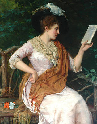 Bookworm Painting - Portrait Of A Lady  by William Oliver