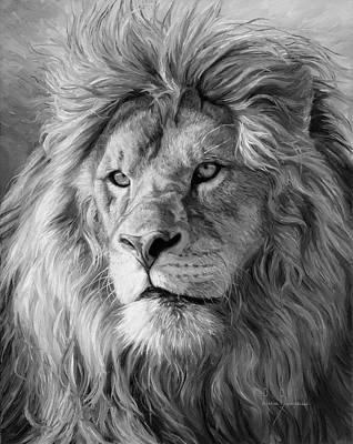 Lion Painting - Portrait Of A Lion - Black And White by Lucie Bilodeau
