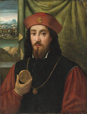 Painting - Portrait Of A Man Holding A Medal by Attributed to Bartolomeo Veneto