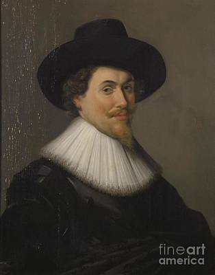 Portrait Of A Man In Black Print by Frans Hals