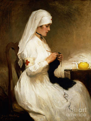 White Painting - Portrait Of A Nurse From The Red Cross by Gabriel Emile Niscolet