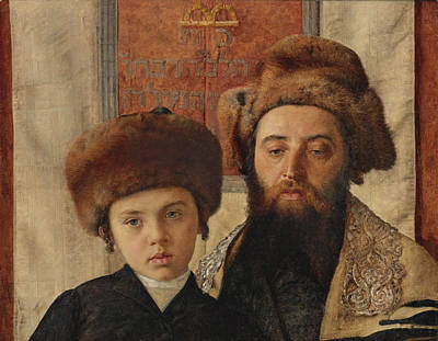 Isidor Kaufmann Painting - Portrait Of A Rabbi With A Young Pupil by Isidor Kaufmann