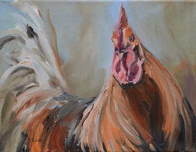 Bird Painting - Portrait Of A Rooster by Donna Tuten