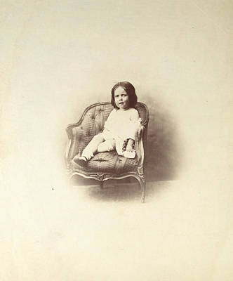 Vintage Photograph - Portrait Of A Seated Child by Gustave Le Gray