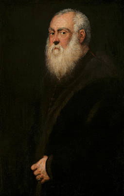White Beard Painting - Portrait Of A White-bearded Man  by Tintoretto