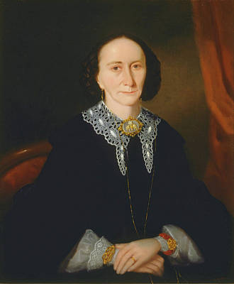 Joseph Backler Painting - Portrait Of A Woman. Elizabeth Collins by Joseph Backler