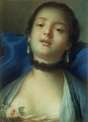 Woman Head Painting - Portrait Of A Woman  by Francois Boucher