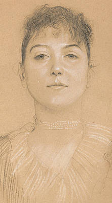 Faces Drawing - Portrait Of A Woman by Gustav Klimt