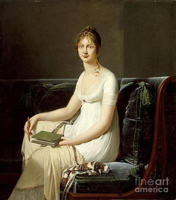 Jacques Painting - Portrait Of A Woman Holding A Pencil And A Drawing Book by Celestial Images