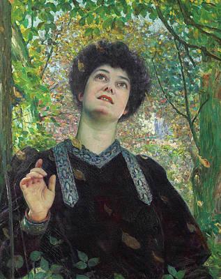 Louis Welden Hawkins Painting - Portrait Of A Woman Looking Up by Louis Welden Hawkins