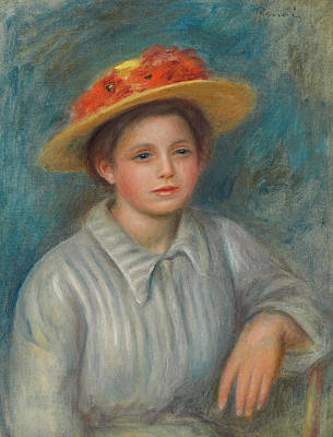 Portrait Of A Woman With A Hat With Flowers Print by Pierre Auguste Renoir