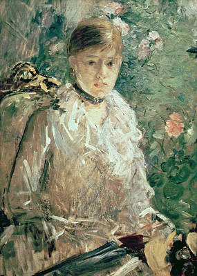 Necklace Painting - Portrait Of A Young Lady by Berthe Morisot