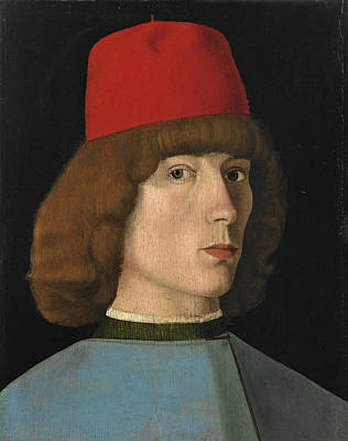 Painting - Portrait Of A Young Man Bust Length In A Red Cap by Jacopo da Valenza