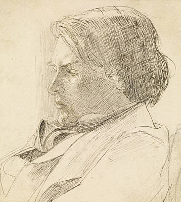 Young Man Drawing - Portrait Of A Young Man by Dante Gabriel Rossetti