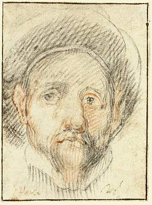Drawing - Portrait Of A Young Man Wearing A Hat Possibly A Self-portrait by Alessandro Casolani