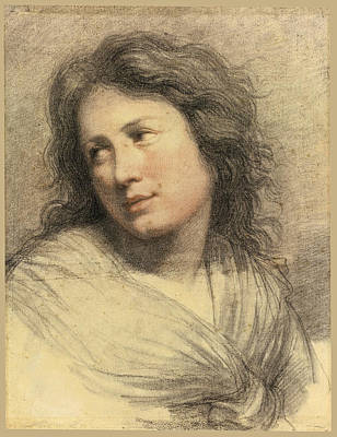 Drawing - Portrait Of A Young Woman Looking Over Her Shoulder by Attributed to Francois-Andre Vincent