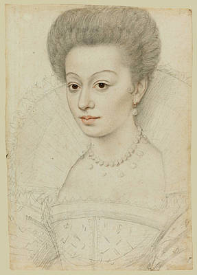Quesnel Drawing - Portrait Of A Young Woman With A Fan-shaped Lace Collar And Pearl Necklace by Attributed to Francois Quesnel