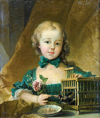 Bird Painting - Portrait Of Alexandrine Le Normant by Francois Boucher