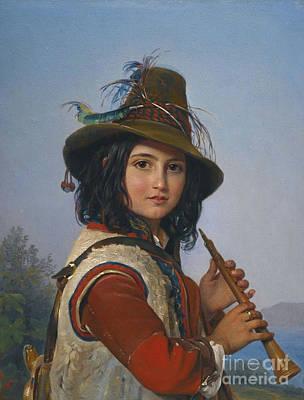 Shepherd Boy Painting - Portrait Of An Italian Shepherd  by MotionAge Designs