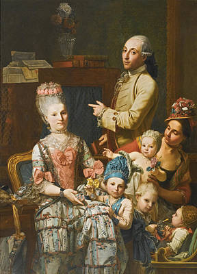 Painting - Portrait Of Antonio Ghedini And His Family by Giuseppe Baldrighi