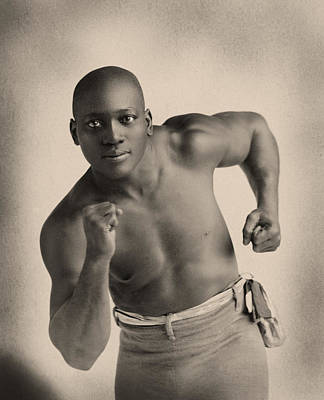 Portrait Of Boxer Jack Johnson Print by American School