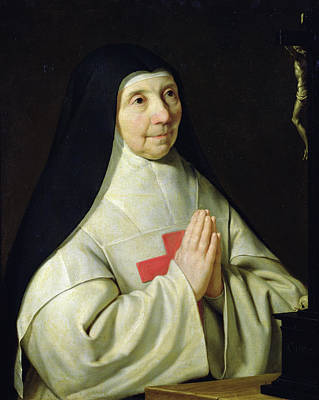Crucifix Painting - Portrait Of Catherine-agnes Arnauld by Philippe de Champaigne