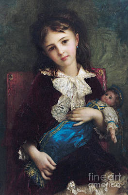 Doll Painting - Portrait Of Catherine Du Bouchage by Antoine Auguste Ernest Hebert