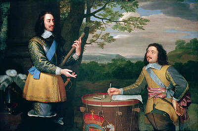 Sashes Painting - Portrait Of Charles I And Sir Edward Walker by English School