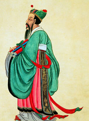 Papyrus Painting - Portrait Of Confucius  by Chinese School