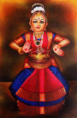 Indian Dance Drawing - Portrait Of Cute Girl In Bharathanatyam Posture by Arun Sivaprasad