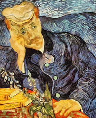 Flower Painting - Portrait Of Dr. Gachet By Van Gogh Revisited by Leonardo Digenio