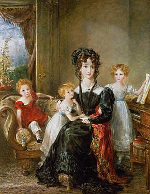 Portrait Of Elizabeth Lea And Her Children Print by John Constable