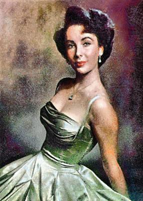 Portrait Of Elizabeth Taylor Print by Charmaine Zoe