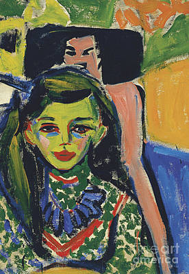 Dresden Painting - Portrait Of Franzi In Front Of Carved Chair by Ernst Ludwig Kirchner