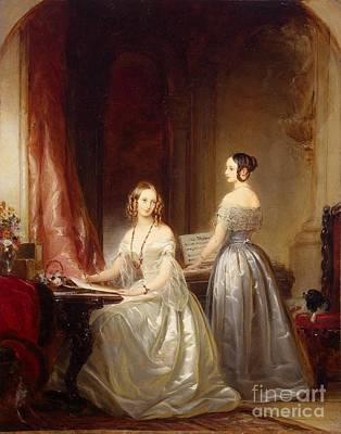 Silver Background Painting - Portrait Of Grand Princesses Olga Nikolayevna by Christina Robertson