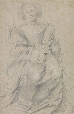 Flemish Drawing - Portrait Of Helene Fourment by Peter Paul Rubens