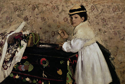 Portrait Of Hortense Valpincon As A Child Print by Edgar Degas