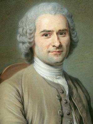 Portrait Of Jean Jacques Rousseau Print by Maurice Quentin de la Tour