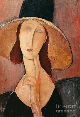 Large Painting - Portrait Of Jeanne Hebuterne In A Large Hat by Amedeo Modigliani