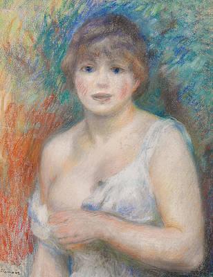 Bare Shoulder Pastel - Portrait Of Jeanne Samary by Pierre Auguste Renoir