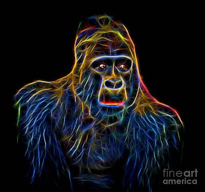 Face Photograph - Portrait Of King Kongs Cousin Glow Version by Jim Fitzpatrick