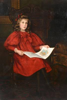 Woman In Red Dress Painting - Portrait Of Margery Merrick Seated In A Red Dress Reading A Book by MotionAge Designs